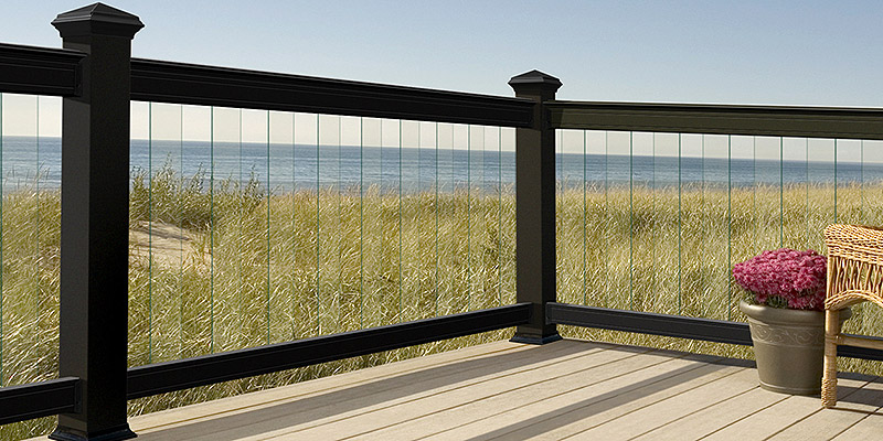 Railing with glass strips